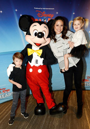 Black suede ankle boots completed Vanessa Lachey's casual-chic look.