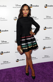 Kerry Washington looked ready to party in a black Alexander Lewis mini dress with a colorful striped skirt during the Disney Upfronts.