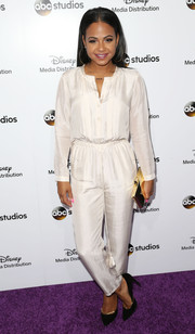Christina Milian kept it relaxed in a loose white jumpsuit during the Disney Upfronts.