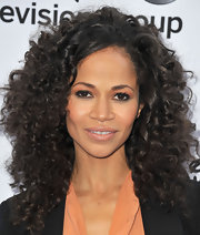 Sherru Saum's full curls looked totally natural and chic at the Disney Media Upfront in Burbank.