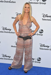 Teri Polo went totally boho with this Southwestern print wide-leg jumpsuit.