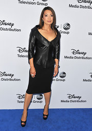 Ming-Na Wen sported a fitted leather jacket with a structured collar while attending the Disney Media Upfront events.
