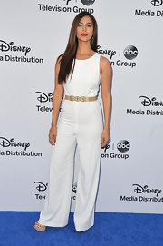 Roselyn Sanchez chose a wide-leg white pantsuit for her look at the Disney Media Upfront.