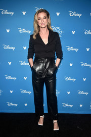 Emily VanCamp kept it low-key in a black button-down shirt at D23 Expo.