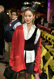 Jamie Chung attended the kickoff of the 'Mickey the True Original' campaign wearing a classic white button-down shirt.