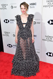 Rachel McAdams looked sultry and feminine in a sheer, plunging ruffle gown by Giambattista Valli at the Tribeca Film Festival premiere of 'Disobedience.'