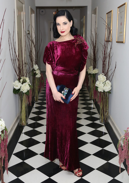 Dita Von Teese Evening Dress [clothing,dress,pink,fashion,fashion model,formal wear,haute couture,shoulder,purple,fashion design,dita von teese,chateau marmont,los angeles,california,olgana,paris cocktail party,olgana paris cocktail party]
