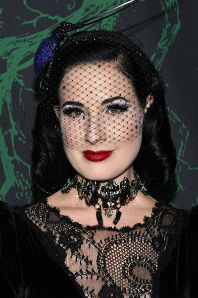 Dita Von Teese Headdress [face,lady,head,doll,lip,forehead,gothic fashion,black hair,mask,toy,bette midler,arrivals,dita von teese,the new york restoration project,cathedral of st. john the divine,new york city,new york restoration project,2017 hulaween event,event,hulaween]