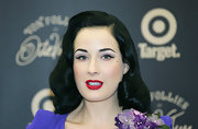 Dita Von Teese promoted the Von Follies for Target wearing her hair in her signature retro style.