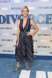Cynthia Nixon looked effortlessly stylish in monochrome grids and stripes during the New York premiere of 'Divorce.'