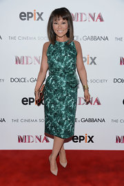 Alina Cho wore a green printed frock for the premiere of 'Madonna: The MDNA Tour' in NYC.