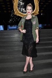 Kitty Spencer contrasted her ladylike dress with a military jacket.