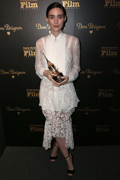 Rooney Mara looked perfectly polished in a sheer white tuxedo shirt by Givenchy at the 2016 Santa Barbara International Film Festival.