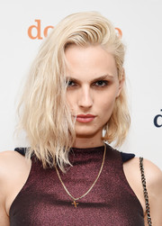 Andreja Pejic worked a messy-chic asymmetrical cut at the Domino x American Express Platinum event.