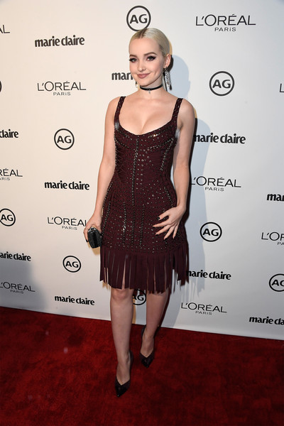 Dove Cameron Bandage Dress [cocktail dress,dress,clothing,hairstyle,little black dress,fashion model,carpet,fashion,red carpet,footwear,arrivals,dove cameron,marie claires image maker awards,catch la,west hollywood,california]
