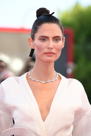 Bianca Balti styled her hair into a tight, high bun for the Venice Film Festival opening ceremony.