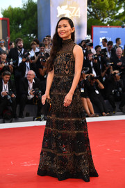Hong Chau looked glamorous in a beaded black gown by Elie Saab at the Venice Film Festival opening ceremony.