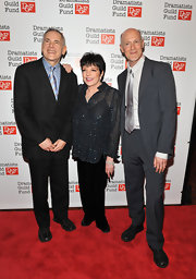 Actress Liza Minnelli attended the Dramatists Guild Fund anniversary party wearing a sparkling sheer top.