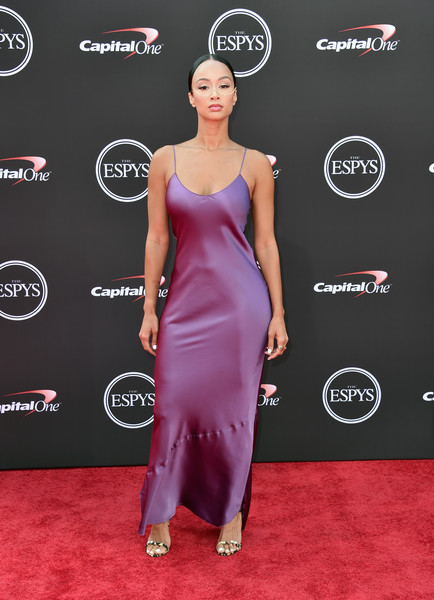 Draya Michele Evening Dress [carpet,clothing,dress,red carpet,shoulder,hairstyle,cocktail dress,fashion,flooring,premiere,arrivals,draya michele,media personality,microsoft theater,los angeles,california,espys]