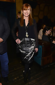 Nicole Miller chose a black and white splatter skirt for her look at DuJour Magazine's Spring Issue celebration.