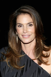 Cindy Crawford was stylishly coiffed with flippy layers at the DuJour Magazine Fashion Week celebration.
