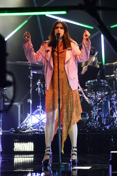 Dua Lipa Leather Jacket [performance,entertainment,music artist,performing arts,music,singing,stage,event,public event,song,excel,artist,mtv live stage,performance,set,epicentre,dome,england,london,dua lipa]