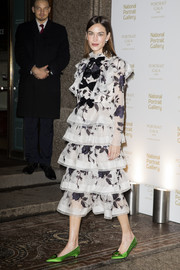 Alexa Chung went the sweet route in a tiered and bowed floral frock by Erdem at the 2019 Portrait Gala.