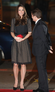 Kate Middleton looked lovely in a Temperley LBD with a nude underlay at the SportsAid dinner.