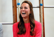 Kate Middleton looked demure wearing her hair in a half-up style with wavy ends during her visit to a London school.