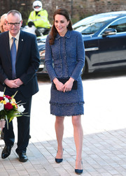 Kate Middleton stayed classic in a blue tweed skirt suit by Rebecca Taylor while visiting the Ronald McDonald House.