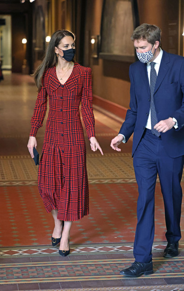 Kate Middleton visited the V&A Museum wearing a red plaid shirtdress by Alessandra Rich.