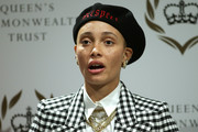 Adwoa Aboah sported a black beret embroidered with the word 'Respect' at an International Women's Day panel discussion.