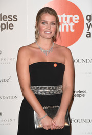 Kitty Spencer wore a diamond bracelet and chandelier necklace to complement her bedazzled gown at the Centrepoint at the Palace event.