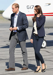 Prince William wore a heather navy blazer with his corduroys for his Canadian tour with Kate.