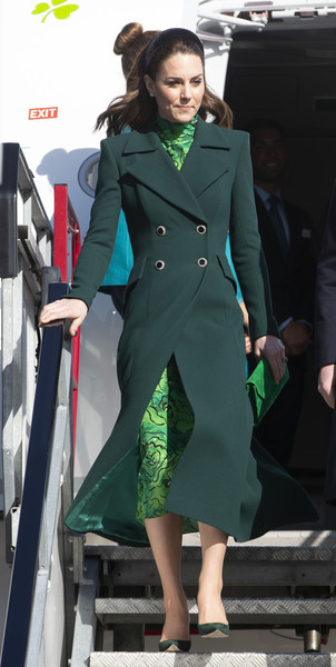 Kate Middleton arrived at Dublin  Airport looking sharp in a double-breasted green coat by Catherine Walker.