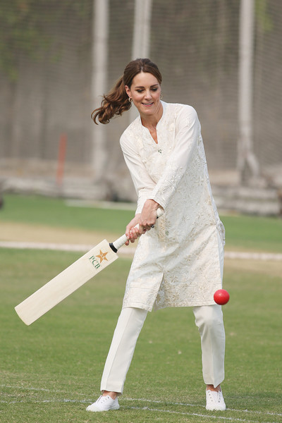 Kate Middleton kept her feet comfy in a pair of white Hampton Canvas sneakers while visiting the National Cricket Academy in Lahore, Pakistan.