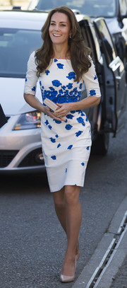 Kate Middleton kept it ladylike in a cornflower-print sheath dress by L.K.Bennett while visiting Luton.