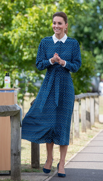 Kate Middleton kept it demure in a long-sleeve blue shirtdress by Beulah London for her visit to Queen Elizabeth Hospital.
