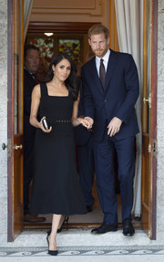 Meghan Markle went for a simple square-neck LBD by Emilia Wickstead when she attended a reception on day 1 of her visit to Ireland.