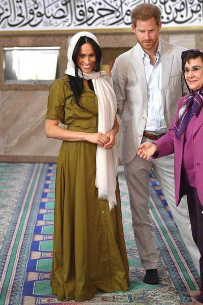 Meghan Markle visited Auwal Mosque in South Africa wearing an olive-green maxi shirtdress by Staud.