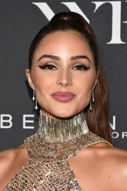 Olivia Culpo wore her hair in a high ponytail at the E!, ELLE, and IMG NYFW kickoff celebration.