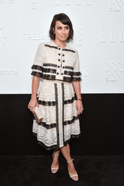 Constance Zimmer kept it demure in a black-and-white lace blouse by SEBASTIANred at the NYFW kickoff party.