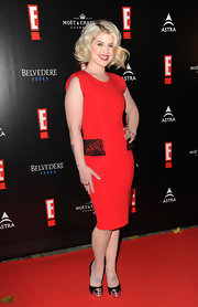 Kelly Osbourne was red hot at the E! soiree in Munich. She topped off her red cocktail dress with black platform pumps complete with silver cap-toe detailing.