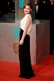Holliday Grainger worked the monochrome look at the 2015 British Academy Film Awards.