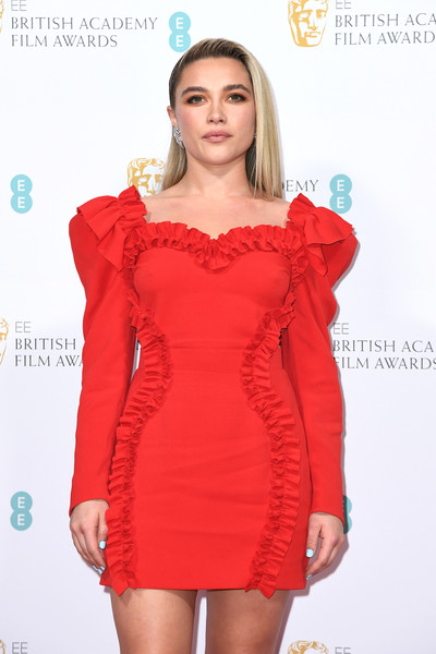 More Pics of Florence Pugh Medium Straight Cut (9 of 12) - Medium Straight Cut Lookbook - StyleBistro [clothing,cocktail dress,dress,shoulder,fashion model,red,fashion,joint,sleeve,neck,british academy film awards 2020 nominees,florence pugh,ee,england,london,kensington palace,red carpet arrivals,party,florence pugh,73rd british academy film awards,royal albert hall,little women,bafta rising star award,actor,british academy of film and television arts,2020,british academy film awards]