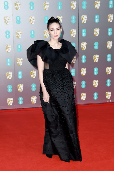 Rooney Mara dolled up in a black Givenchy Couture gown with statement ruffle sleeves for the 2020 EE British Academy Film Awards.
