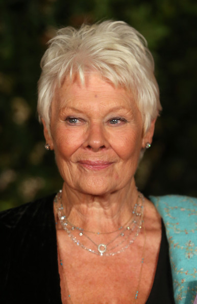 More Pics of Judi Dench Pixie (1 of 5) - Judi Dench Lookbook - StyleBistro [face,hair,blond,skin,head,chin,hairstyle,wrinkle,eyebrow,forehead,judi dench,england,london,the grosvenor house hotel,ee,british academy film awards,dinner party]