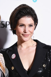 Gemma Arterton wore her hair in a poofy bob at the 2018 BAFTA nominees party.