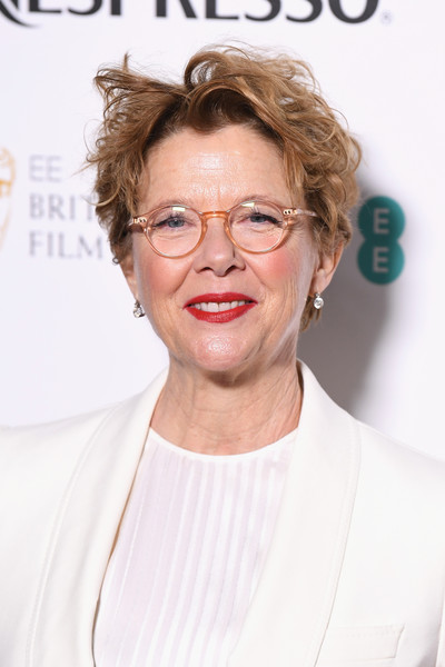 Annette Bening attended the EE British Academy Film Awards nominees party wearing a disheveled hairstyle.