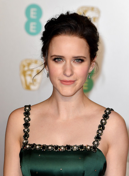Rachel Brosnahan wore her hair in a messy updo at the EE British Academy Film Awards.
